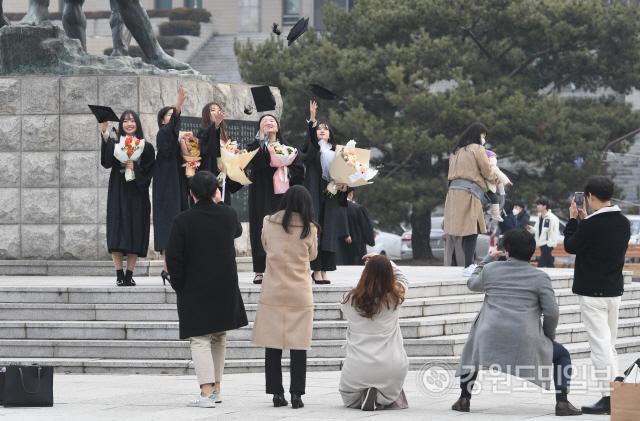 ▲ 21일 강원대 춘천캠퍼스에서 졸업생들이 학사모를 던지며 기념사진을 찍고 있다. 강원대는 코로나19 확산 방지를 위해 이날로 예정됐던 졸업식을 취소했다. 최유진