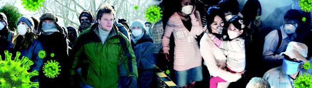 ▲ 코로나 19를 예견한 영화라 불리며 주목 받고 있는 멧 데이먼 주연의 영화 '컨테이젼'(사진 왼쪽)과 한국최초로 바이러스의 감염  공포를 다룬 영화'감기'의 한 장면.