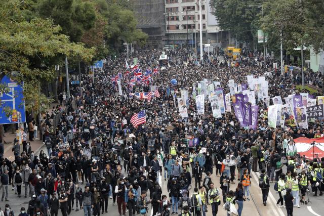 ▲ 새해 첫날도 '시가행진' 홍콩 민주화 시위대