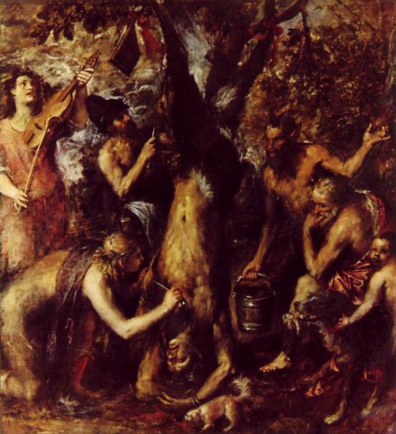 ▲ 티치아노 작 '마르시아스의 살가죽을 벗기는 아폴론'