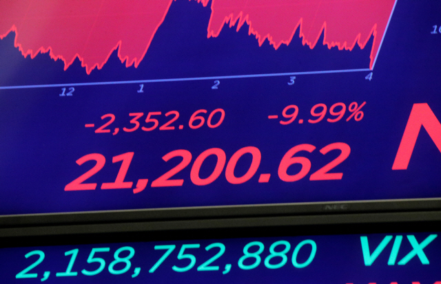 ▲ A price screen display above the floor of the New York Stock Exchange (NYSE) after the close of trading in New York, U.S., March 12, 2020. REUTERS/Brendan McDermid  <All rights reserved by Yonhap News Agency>