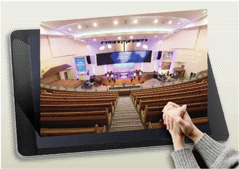 ▲ 15일 낮 온라인과 오프라인으로 동시에 진행된 춘천 중앙감리교회 예배 모습.   코로나19 확산전에는 차 있던 2층 예배당이 텅 비어있다.
