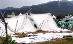 돌풍에 텐트 붕괴 긴급대피