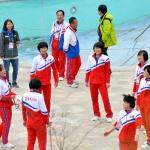 밝은 표정의 북한 아이스하키팀