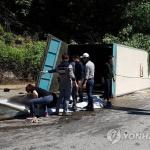 홍천서 말 수송트럭 넘어져…2명 부상·말 5마리 구조