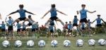 금강대기 고교축구대회 참가선수 몸풀기