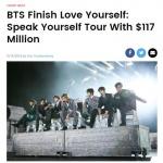 """BTS 스타디움투어로 1천360억원 매출…10월 세계 2위"""