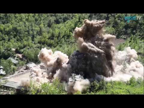 북, 풍계리 핵실험장 폭파 영상 공개