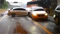 영동고속도로 고속버스 승용차 충돌 블랙박스 영상